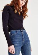 Bayan Lacivert Yüksek Bel Dar Paça Eskitme Denim Pantolon