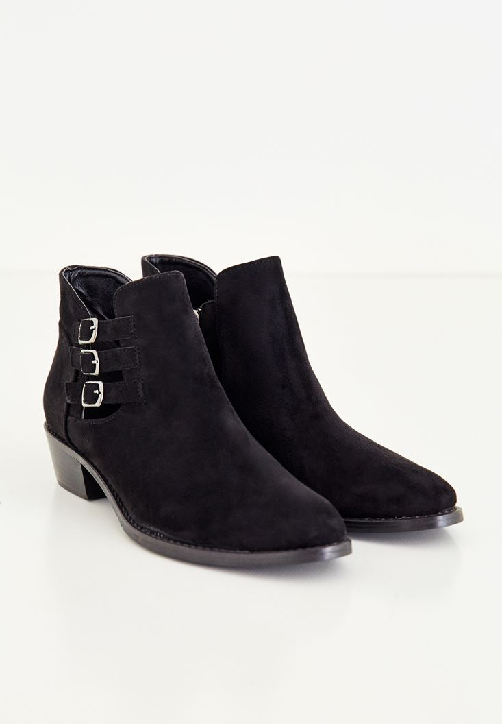 Black Ankle Boots With Buckles