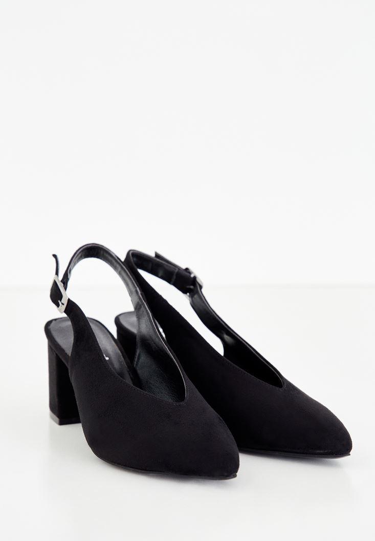 Bayan Siyah Arkası Açık Topuklu Ayakkabı