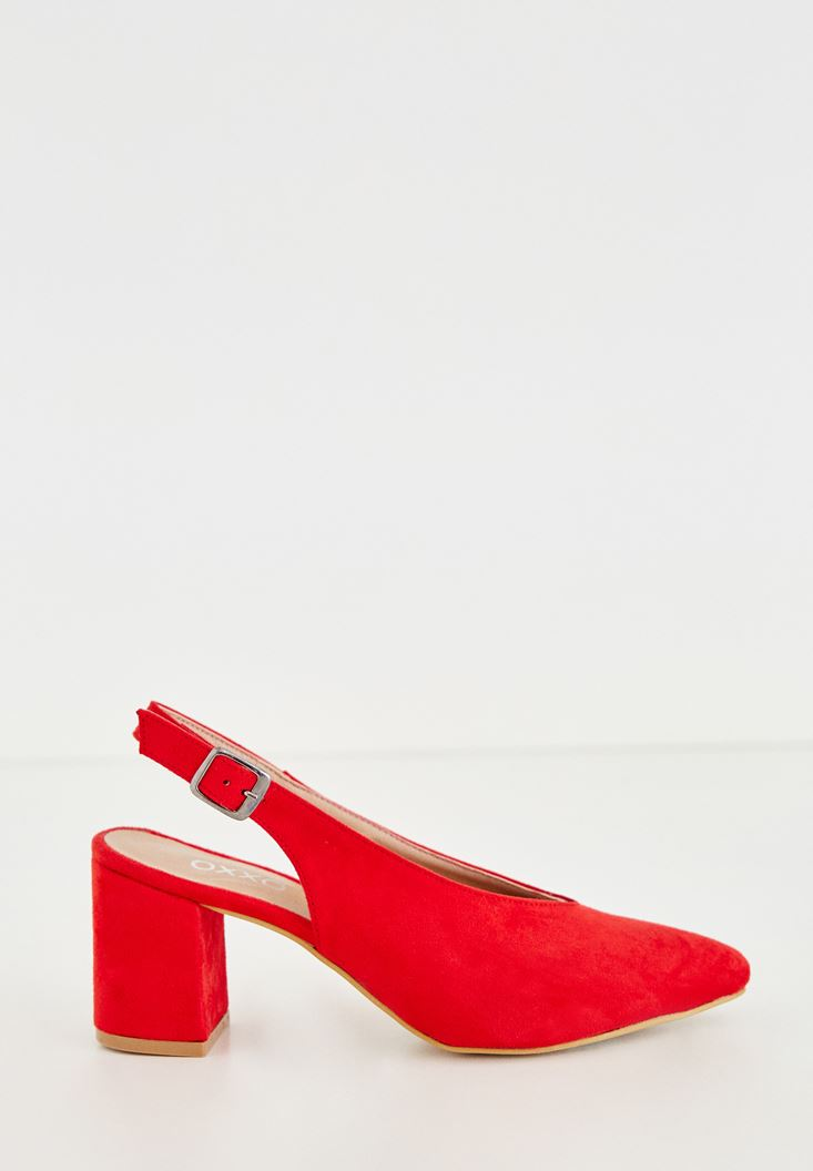 Bayan Kırmızı Arkası Açık Topuklu Ayakkabı