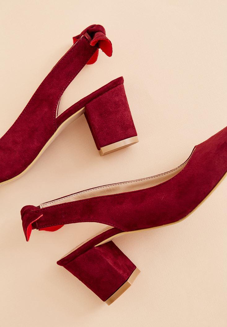 Bordo Kurdele Detaylı Topuklu Ayakkabı