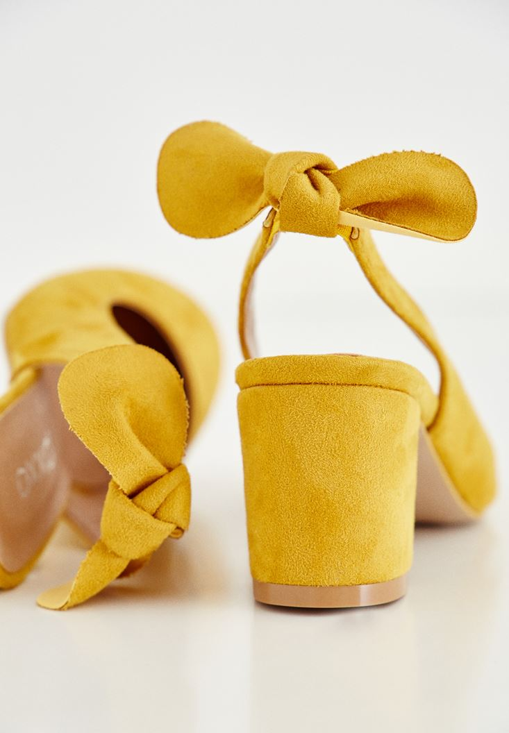 Bayan Sarı Kurdele Detaylı Topuklu Ayakkabı