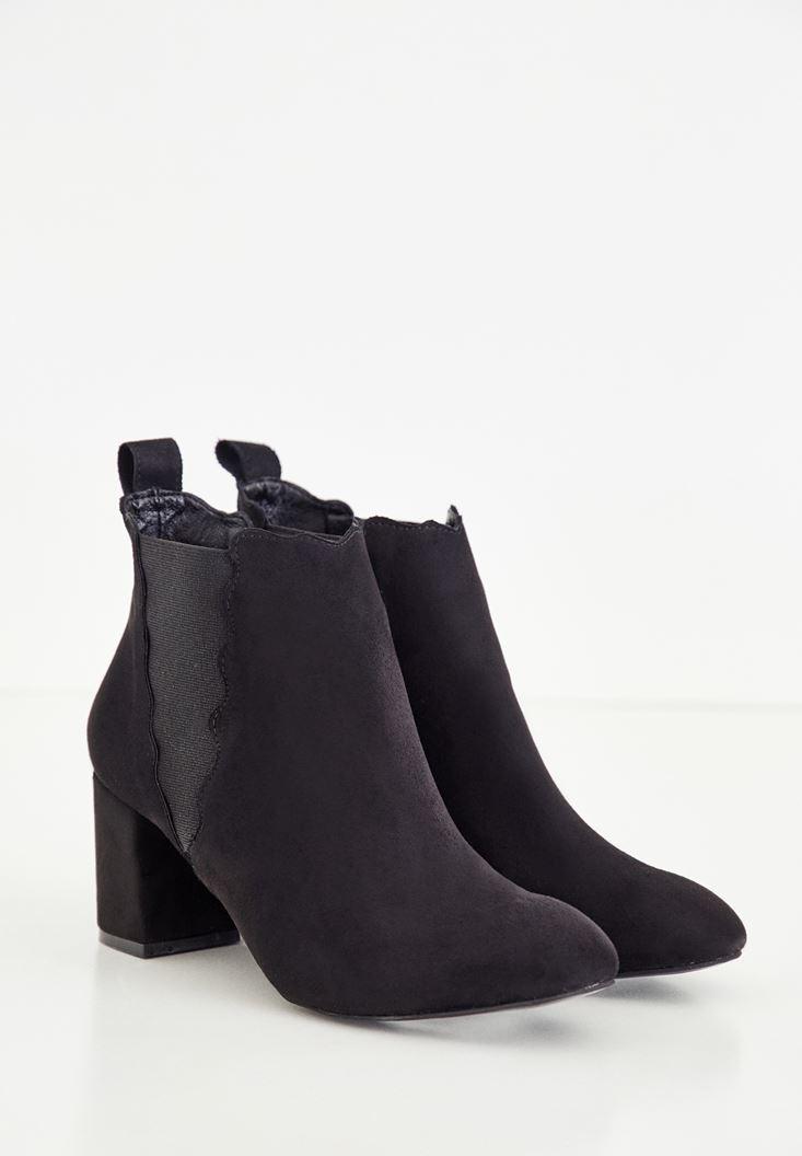 Bayan Siyah Lastik Detaylı Topuklu Bot
