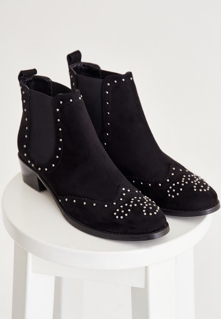 Black Ankle Boots With Detailed