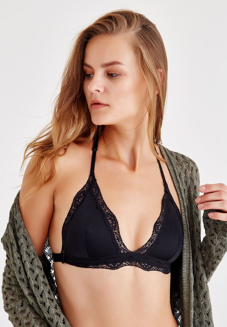 Black Triangle Bralette With Back Lace Detail