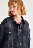 Bayan Siyah Sırt Detaylı Denim Ceket