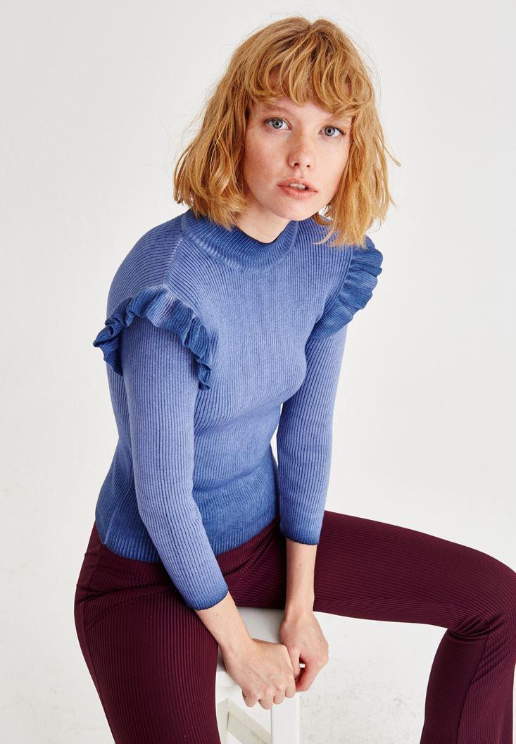 Bayan Mavi Fırfırlı Uzun Kollu Triko