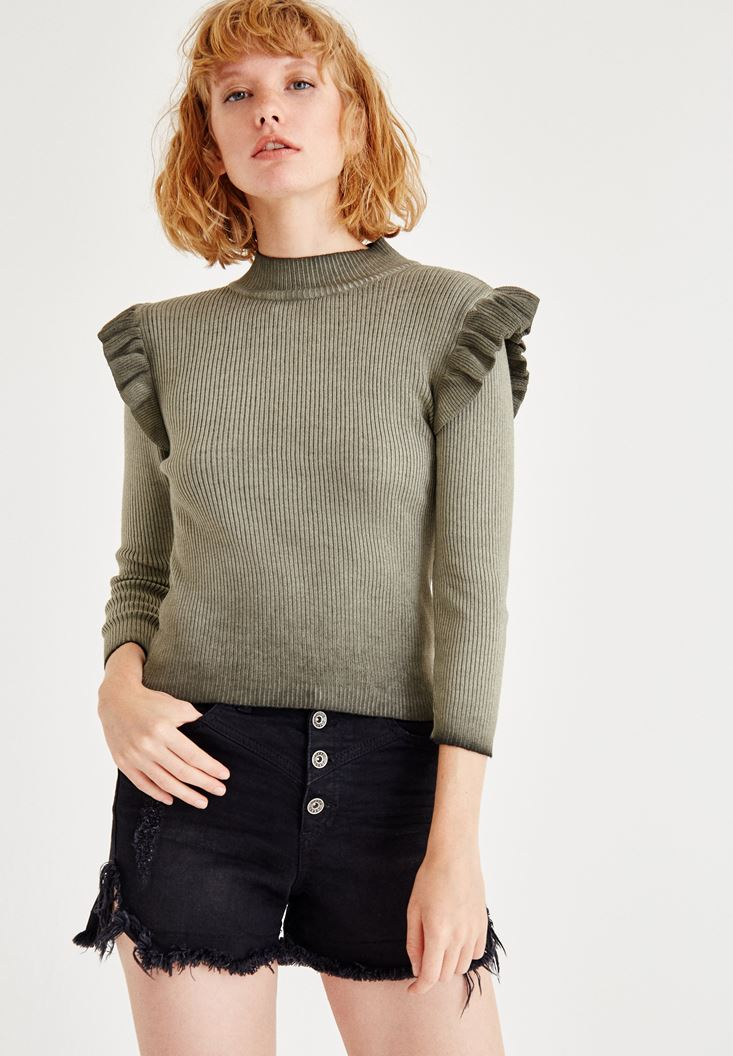 Green Long Sleeve Knitted With Ruffle