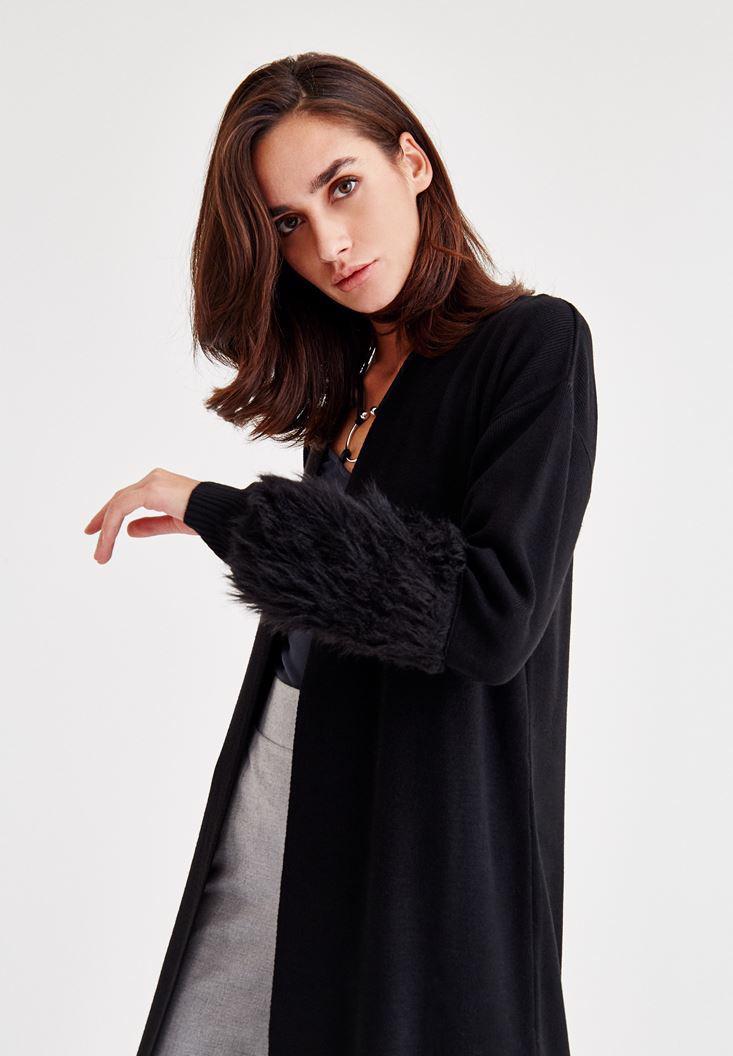 Bayan Siyah Kolları Kürklü Hırka