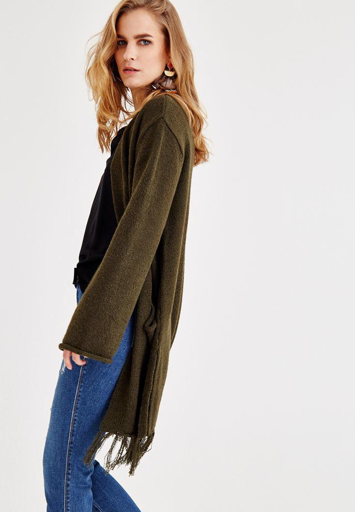 Bayan Yeşil Püskül Detaylı Uzun Hırka