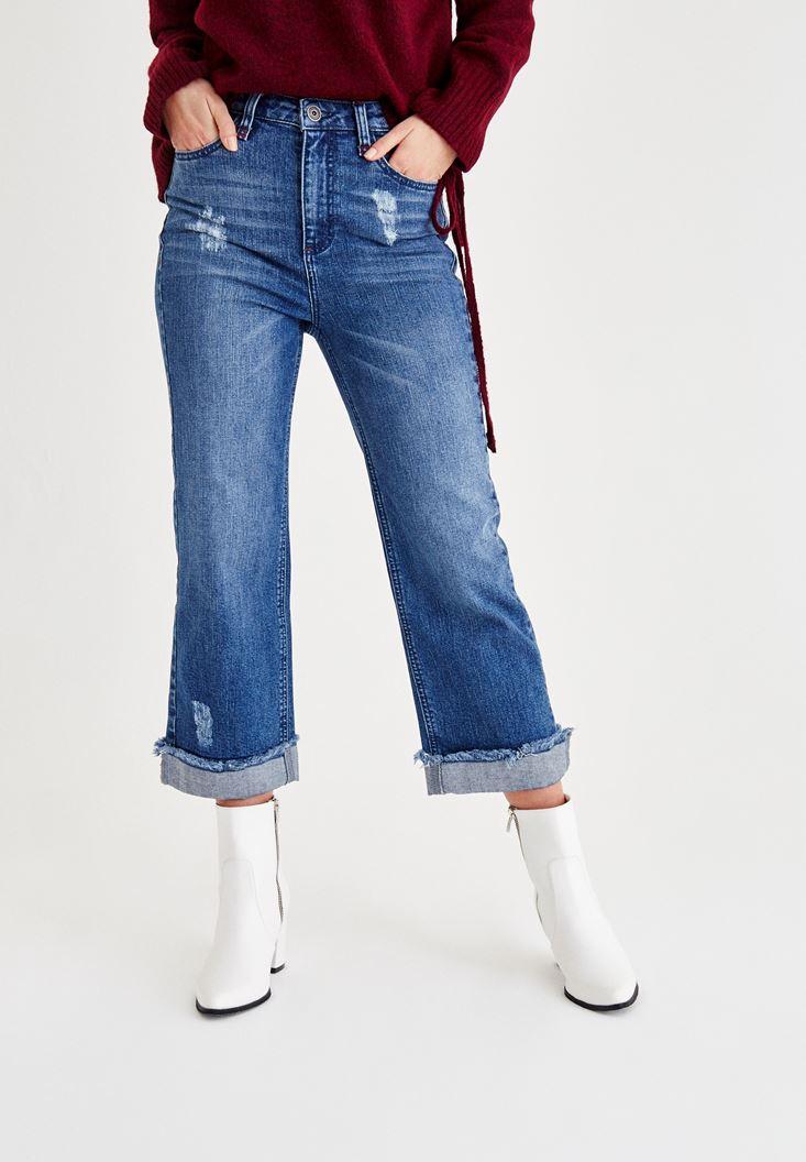 Bayan Mavi Paça Detaylı Denim Pantolon
