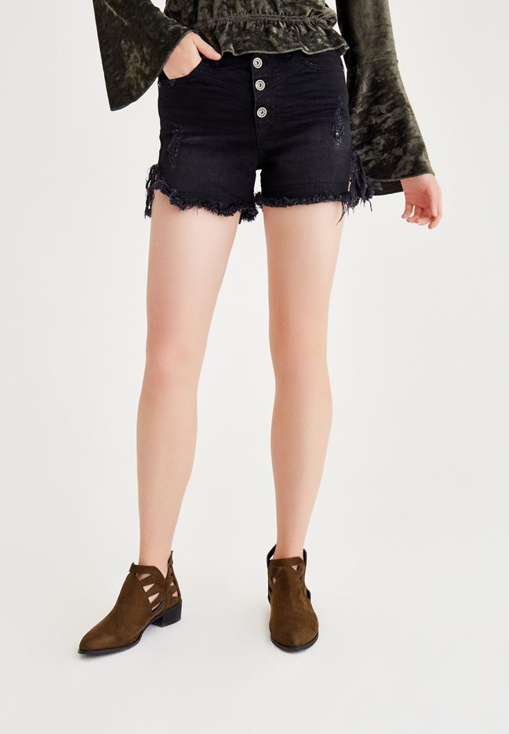 Black Denim Shorts With Buttons