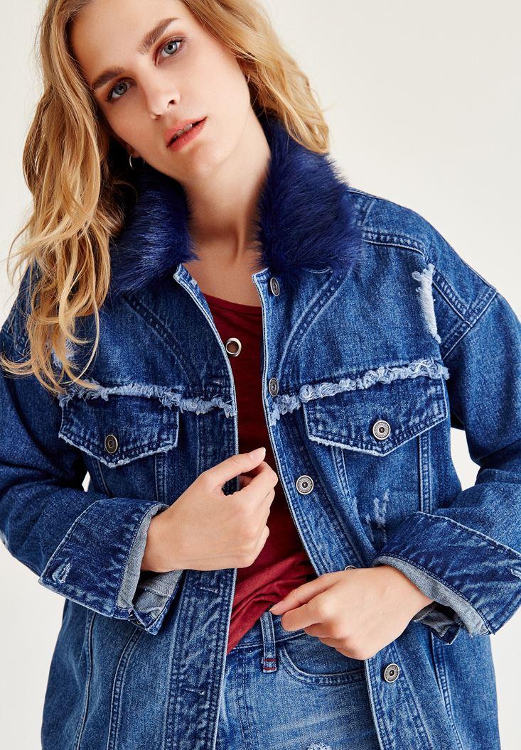 Mavi Kürk Detaylı Denim Ceket