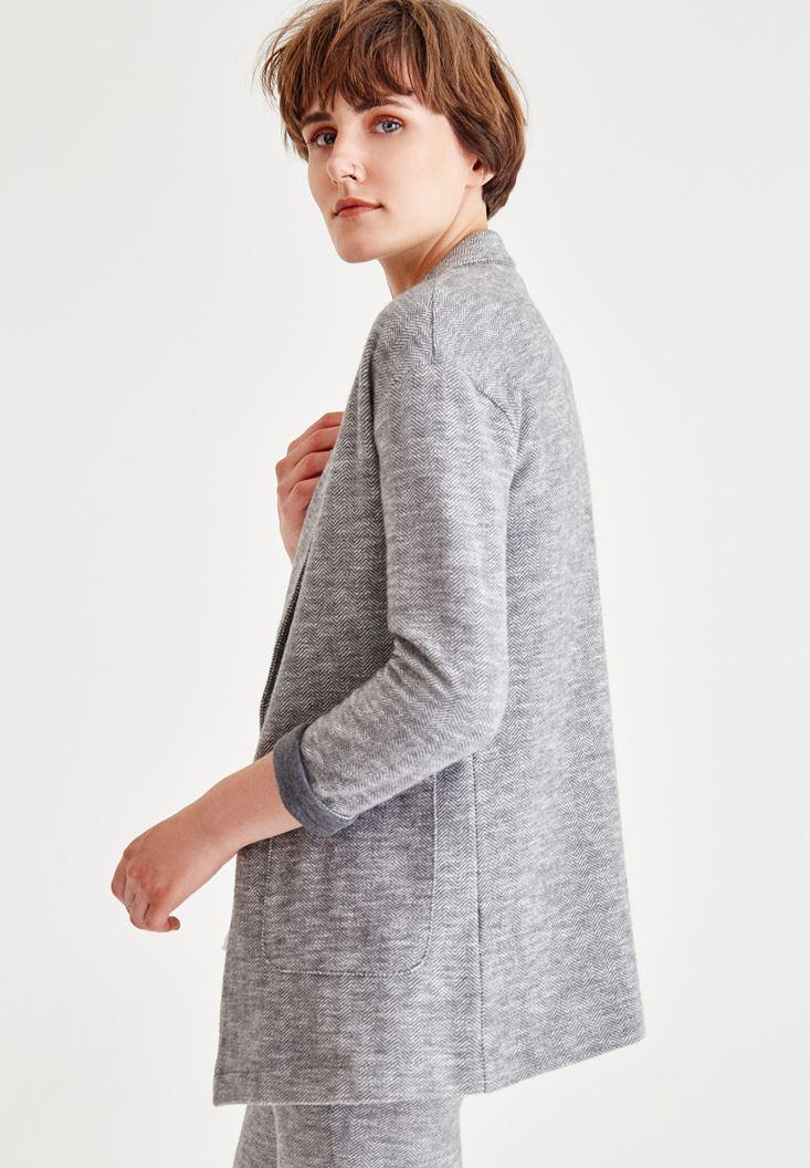 Balıksırtı Çizgili Triko Ceket