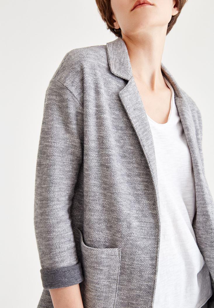 Bayan Çok Renkli Balıksırtı Çizgili Triko Ceket