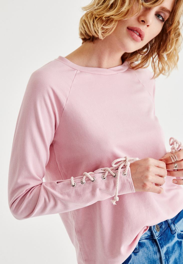 Pembe Kol Detaylı Sweatshirt