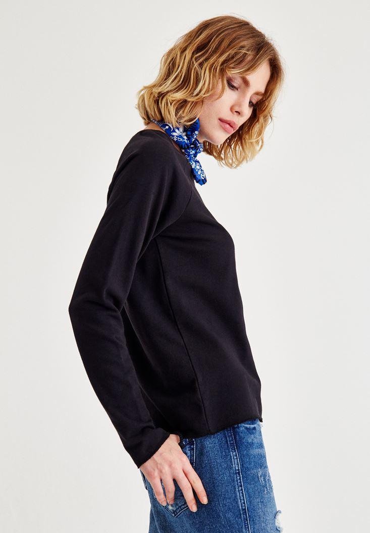 Bayan Siyah Kol Detaylı Sweatshirt
