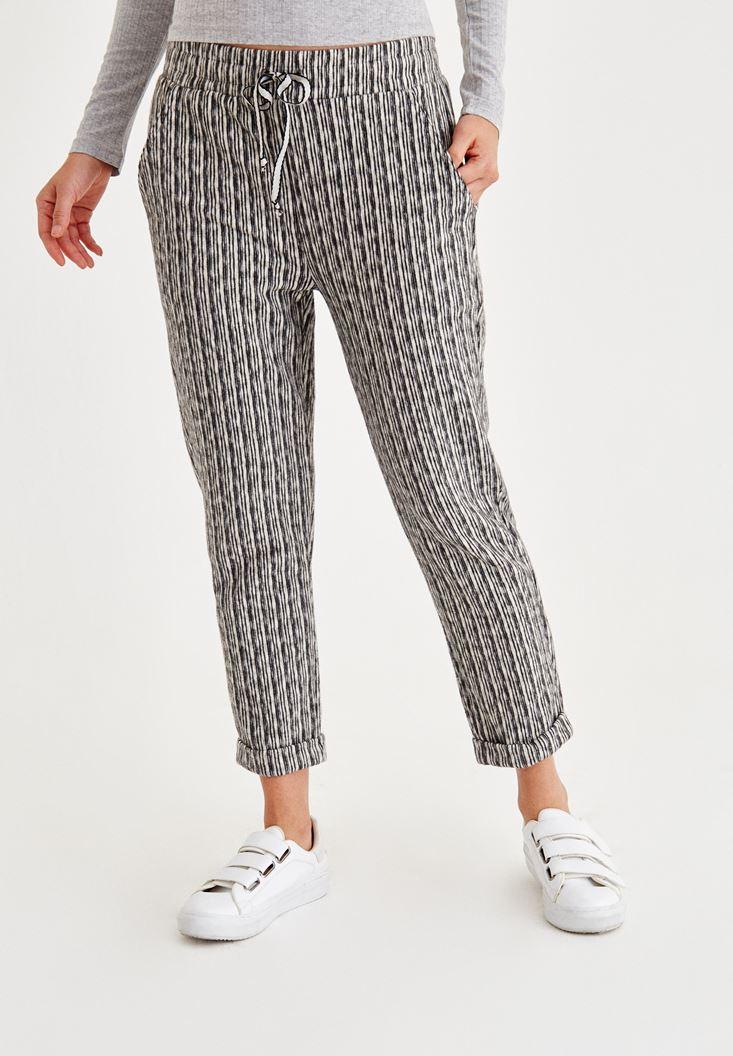 Cream Striped Short Leg Shaggy Pants
