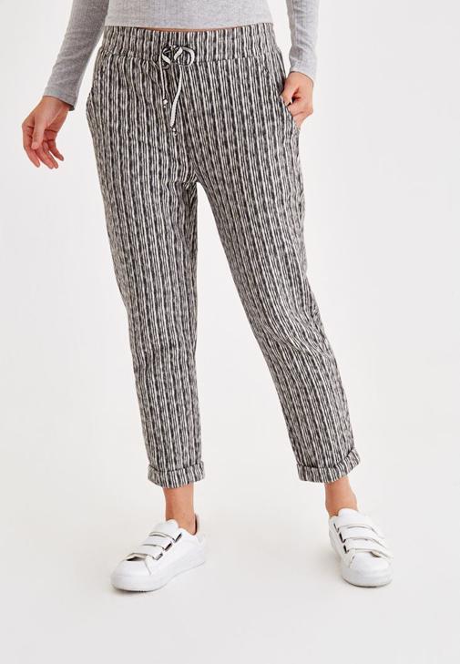 Çizgili Kısa Paça Bol Pantolon