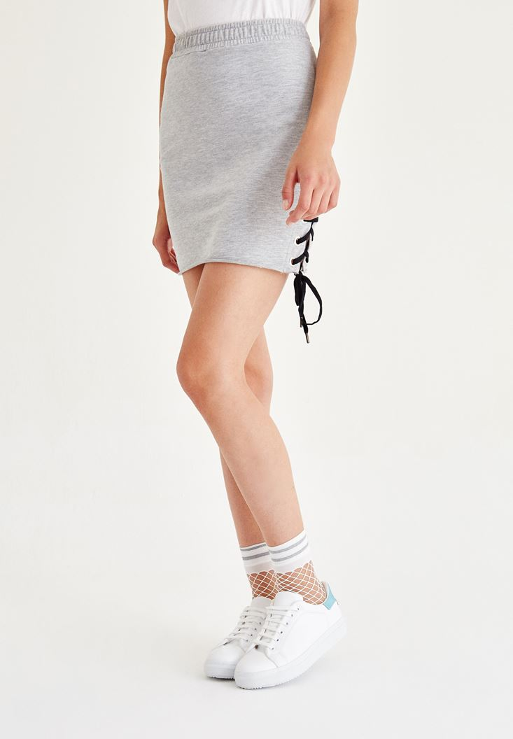 Grey Mini Skirt With Detail