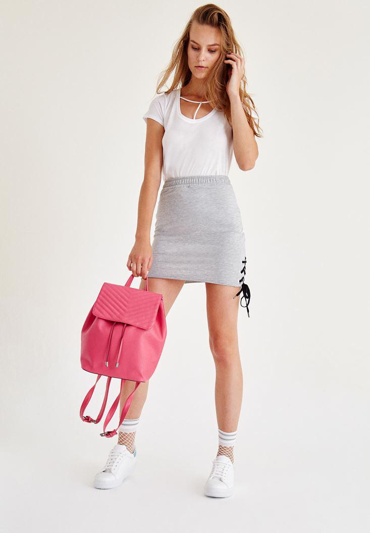 Women Grey Mini Skirt With Detail