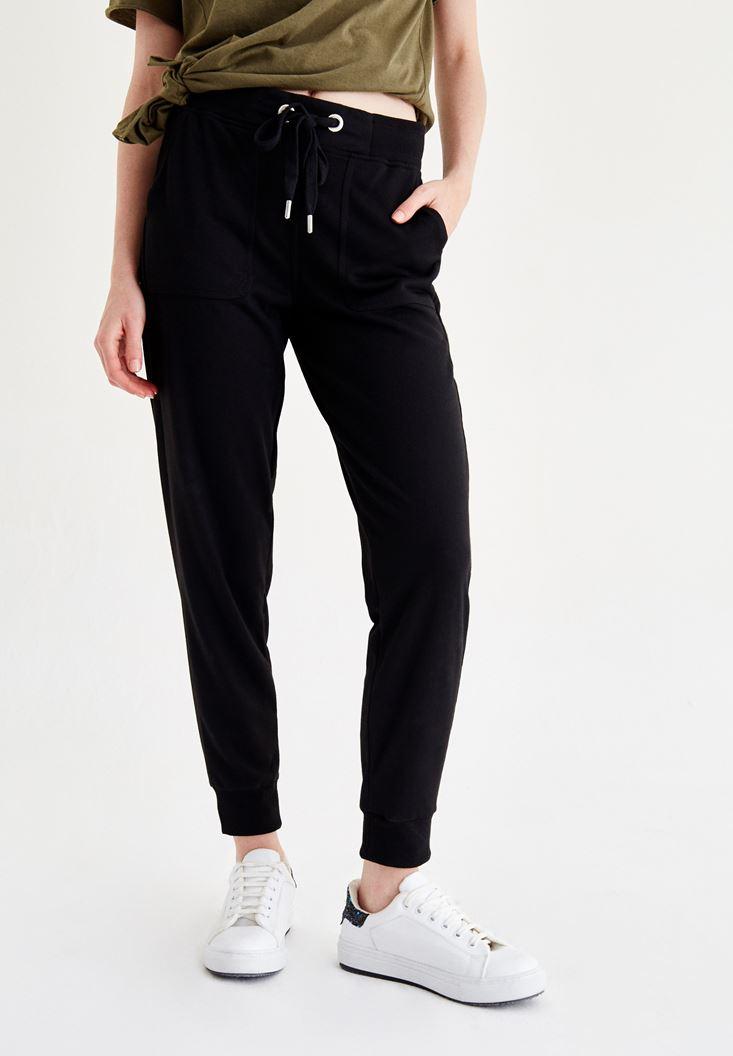 Bayan Siyah Beli Lastikli Pantolon