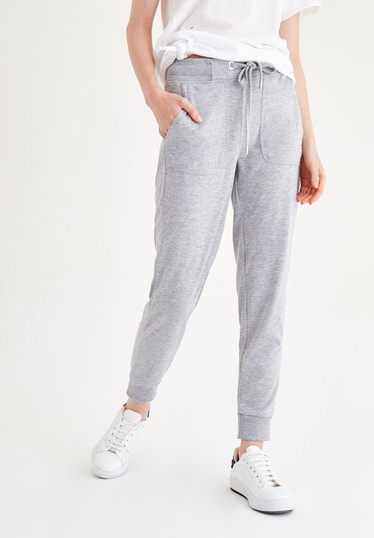 Bayan Gri Beli Lastikli Pantolon