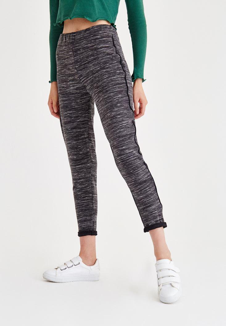 Gri Şerit Detaylı Bol Pantolon