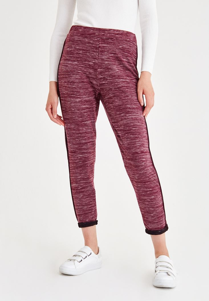 Bordo Şerit Detaylı Bol Pantolon