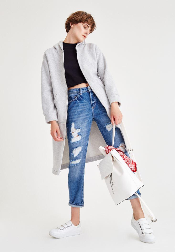Gri Cep Detaylı Kapüşonlu Uzun Sweatshirt