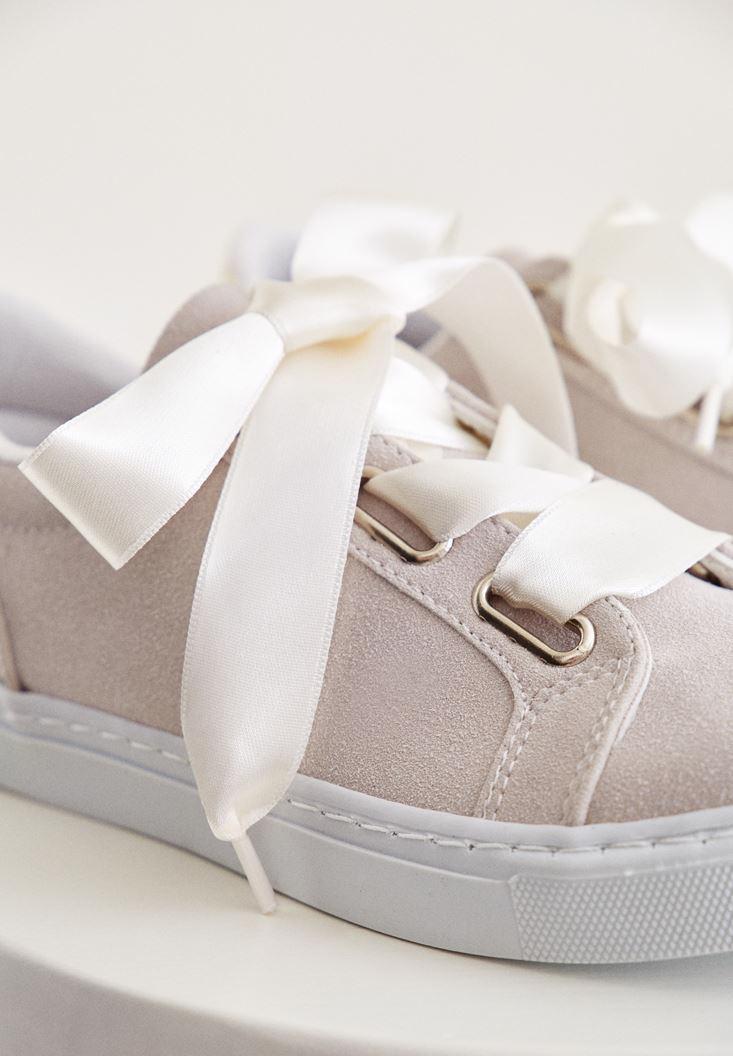 Bayan Krem Arkası Metalik Detaylı Spor Ayakkabı