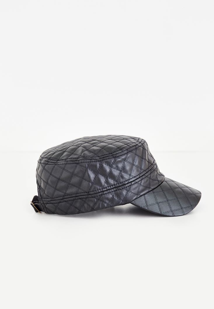 Black Leather Cap With Pattern