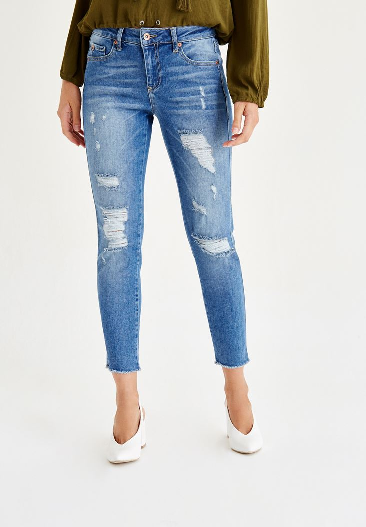 Normal Bel Slim Boyfriend Denim Pantolon
