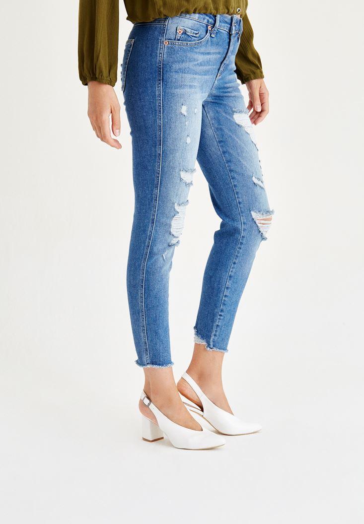 Bayan Mavi Normal Bel Slim Boyfriend Denim Pantolon