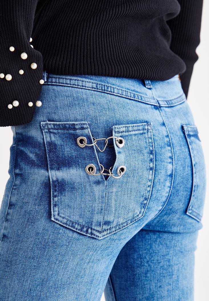 Bayan Mavi Paça Detaylı Bol Kesim Jean