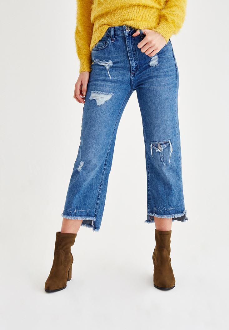 Mavi Yırtık Detaylı Bol Pantolon