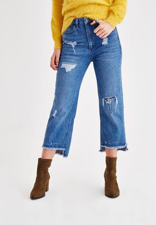 Yırtık Detaylı Bol Pantolon