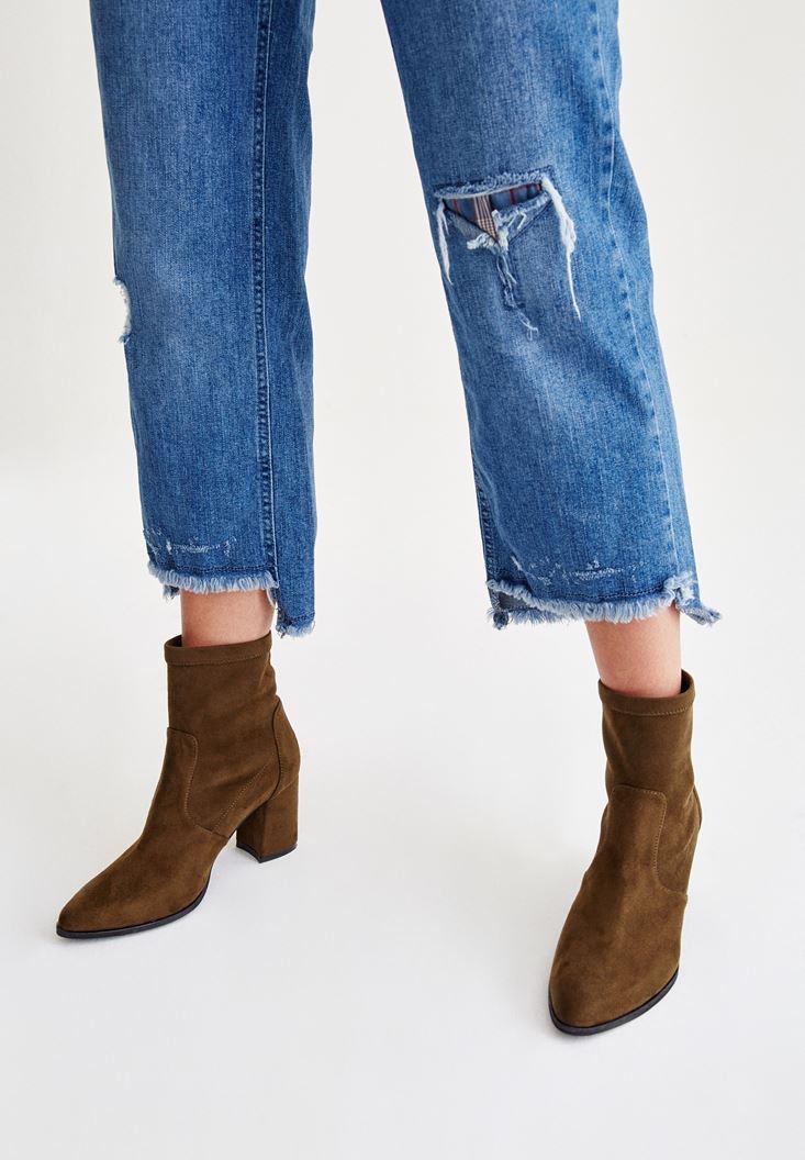 Bayan Mavi Yırtık Detaylı Bol Pantolon