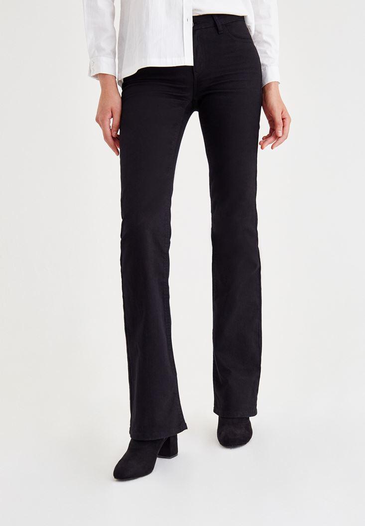 Siyah Orta Bel Boru Paça Pantolon