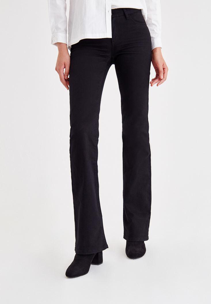 Women Black Mid-Rise Boot Cut Pants