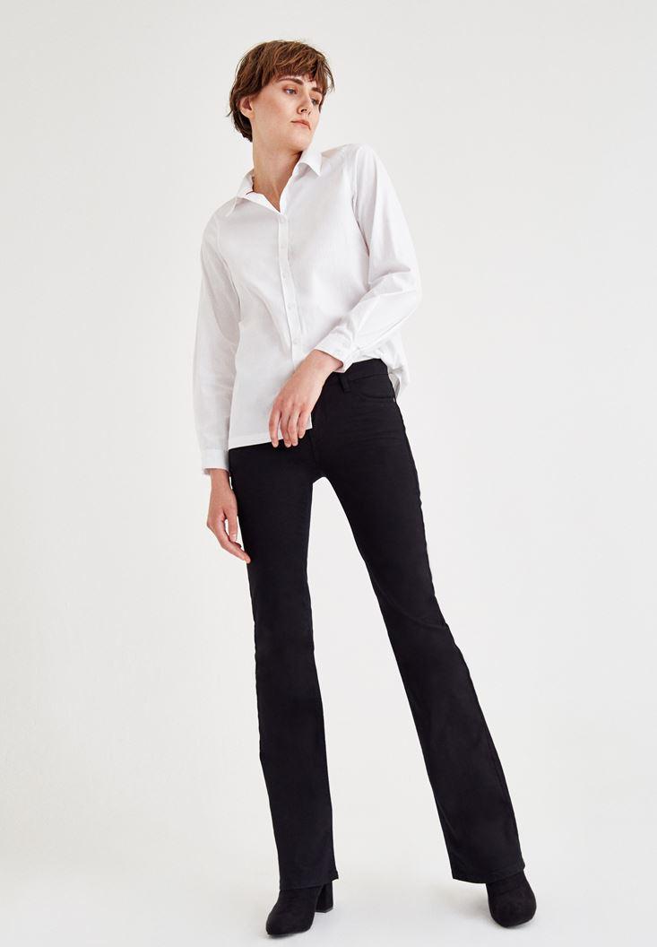 Bayan Siyah Orta Bel Boru Paça Pantolon