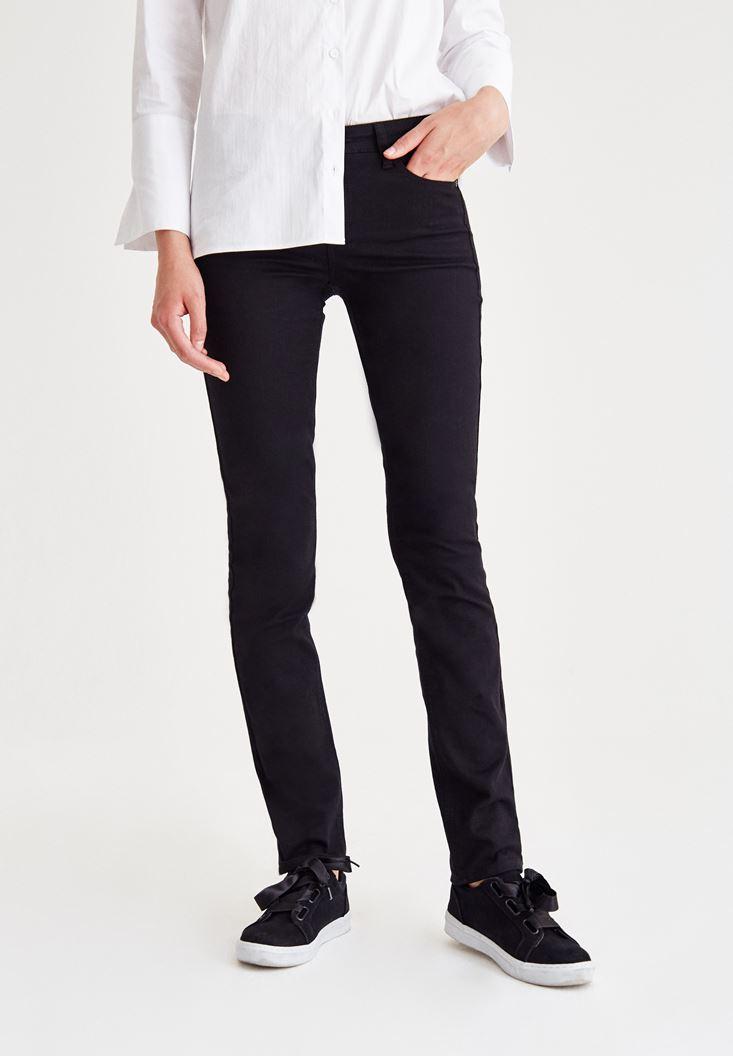 Siyah Orta Bel Dar Paça Slim Pantolon