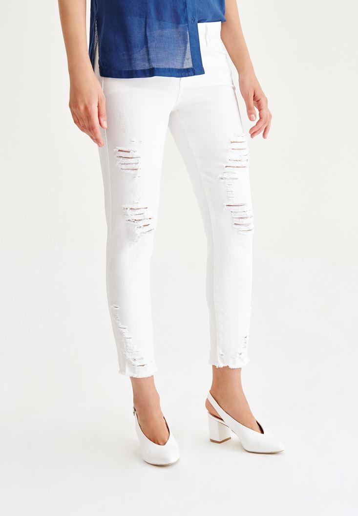 Bayan Krem Slim Boyfriend Denim Pantolon