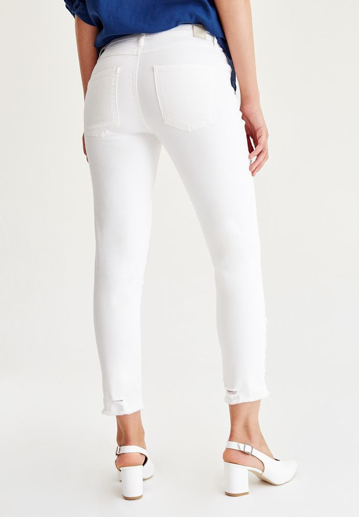 Bayan Krem Slim Boyfriend Denim Pantolon