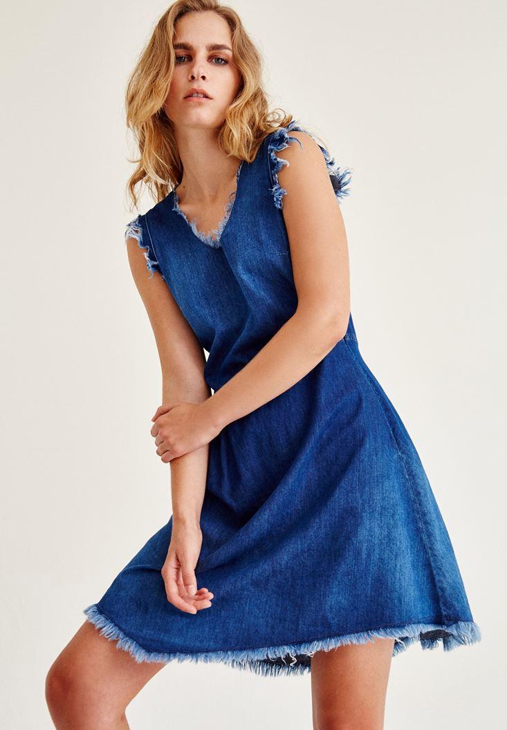 Mavi Sırt Detaylı Kolsuz Denim Elbise