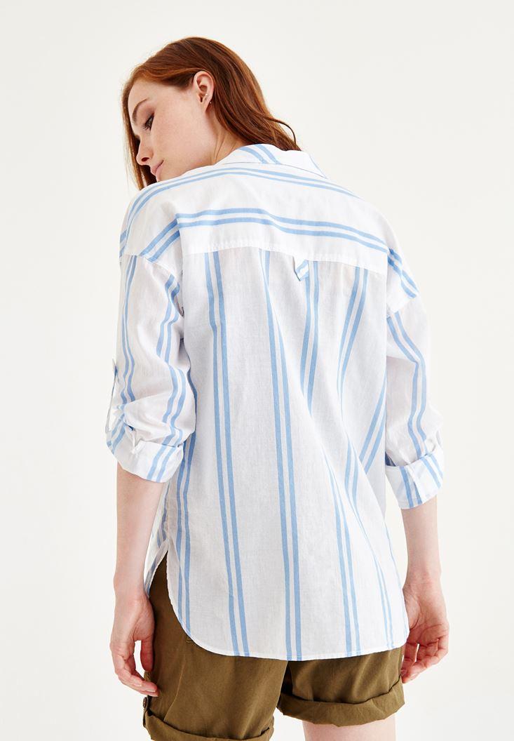 Bayan Çok Renkli Bol Gömlek