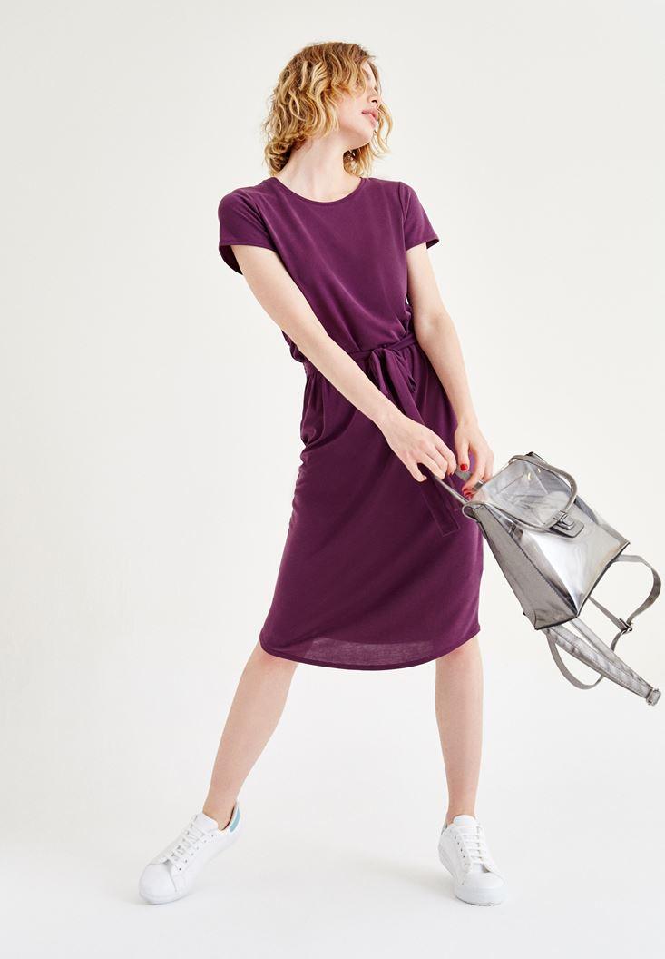 Bordo Kemer Detaylı Beli Lastikli Elbise