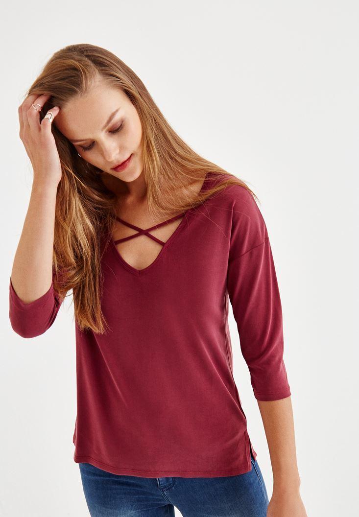 Bayan Bordo Çapraz Biye Detaylı Bluz
