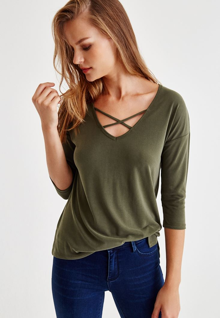 Green Blouse With Cross Detail