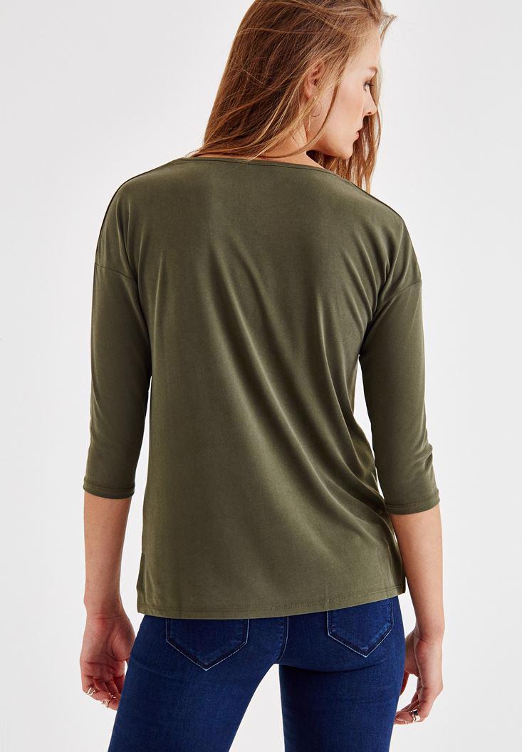 Bayan Yeşil Çapraz Biye Detaylı Bluz